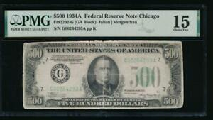 AC 1934A $500 FIVE HUNDRED DOLLAR BILL CHICAGO PMG 15