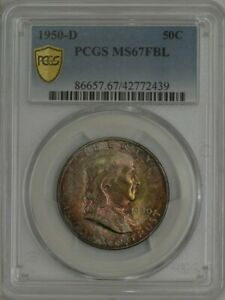 Click now to see the BUY IT NOW Price! 1950 D FRANKLIN HALF 50C MS67 FBL PCGS SECURE 943052 19   COLOR