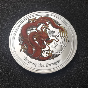 AUSTRALIA ZODIAC ANIMAL YEAR OF THE DRAGON SILVER PLATED PAINTED COMMEMORATIVE M