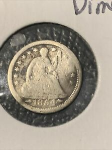 1854 DAMAGED SEATED HALF DIME WITH ARROWS OLDER COIN NR