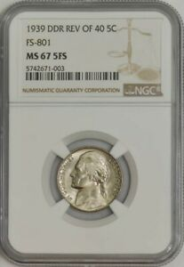 Click now to see the BUY IT NOW Price! 1939 JEFFERSON NICKEL 5C DOUBLED DIE REVERSE REV. OF '40 FS 801 MS67 5FS NGC