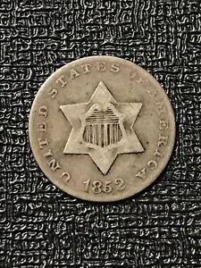 1852 TRIME VF/XF PROBLEM FREE COIN EXCELLENT TYPE COIN