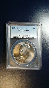 1974 D EISENHOWER DOLLAR PCGS MS65 GEM UNCIRCULATED IKE $1 COIN BUY IT NOW