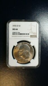 1972 D EISENHOWER DOLLAR NGC MS66 GEM IKE $1 COIN PRICED TO SELL NOW