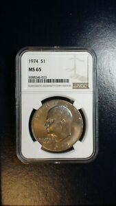 1974 P EISENHOWER DOLLAR NGC MS65 UNCIRCULATED IKE $1 COIN BUY IT NOW