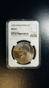 1776 1976 D TYPE 2 EISENHOWER DOLLAR NGC MS65 UNCIRCULATED IKE $1 COIN BUY IT
