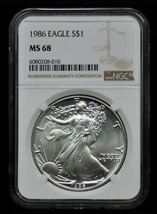 1986 NGC MS68 SILVER EAGLE [081DUD]