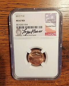 2017 P LINCOLN CENT NGC MS 67 RD LYNDALL BASS LABEL