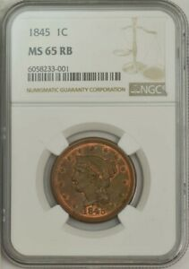 1845 LARGE CENT 1C N 5 R.1 MS65 RB NGC 944304 1