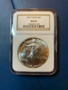 1987 AMERICAN SILVER EAGLE ASE NGC MS 69