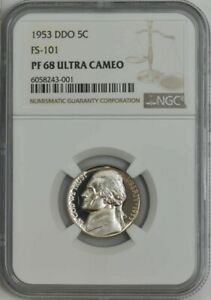 Click now to see the BUY IT NOW Price! 1953 JEFFERSON NICKEL 5C DOUBLED DIE OBVERSE FS 101 PF68 ULTRA CAM NGC 944493 13
