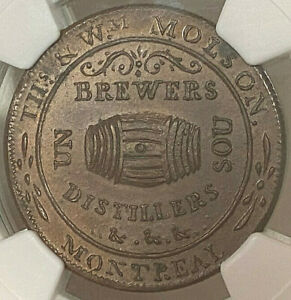Click now to see the BUY IT NOW Price! CANADA SOU 1837 LC 16A3 THS & WM MOLSON THIN FLAN REEDED EDGE   NGC MS 64 BN