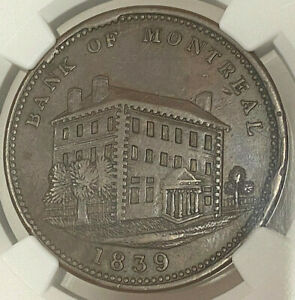 Click now to see the BUY IT NOW Price! CANADA PENNY TOKEN 1839 LC 11B BANK OF MONTREAL   NGC AU 53 BN