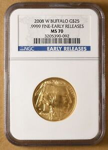 2008 W BUFFALO .999 GOLD $25 'EARLY RELEASES' NGC MS70