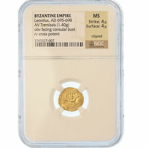 Click now to see the BUY IT NOW Price! [489693] MNZE LEONTIUS 695 698 TREMISSIS GRADED NGC MS 4/5 4/5 GOLD 37