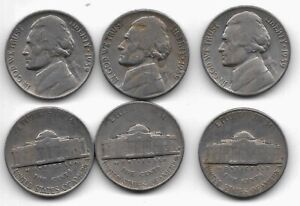 EACH 1939  S JEFFERSON  5 CENT NICKEL CIRCULATED