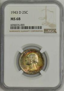 Click now to see the BUY IT NOW Price! 1943 D WASHINGTON QUARTER 25C MS68 NGC 944356 3   NICE OBVERSE COLOR