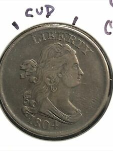 1804 HALF CENT SPIKED CHIN C 8 LATE DIE STATE W/CUD AT LIB CHOICE BROWN PATINA