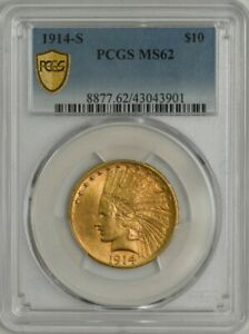 1914 S $10 GOLD INDIAN MS62 SECURE PCGS 944488 10