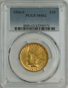 1916 S $10 GOLD INDIAN MS62 PCGS 944653 49