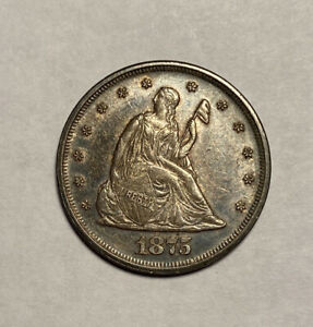 1875 P 20 CENT PIECE AU ALMOST UNCIRCULATED NICE DARK COLOR STRONG STRIKE