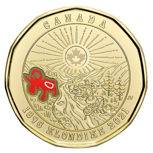 1 COLOR COIN CANADA $1 LOONIE KLONDIKE GOLD RUSH 2021 125TH