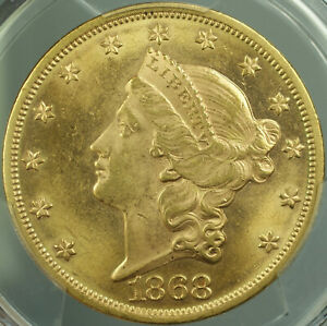 1868 LIBERTY DOUBLE EAGLE $20 GOLD COIN PCGS MS 62 LOOKS UNDERGRADED DW