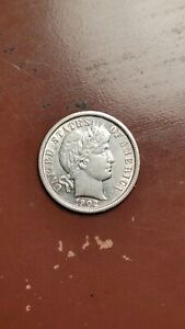 1902 BARBER DIME SILVER 10C  GREAT LUSTER AND STRIKE  NICE AU TYPE COIN    R133