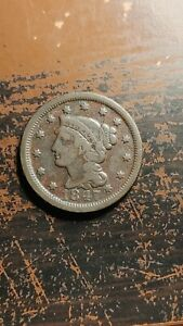 1847 BRAIDED HAIR LARGE CENT  NICE F/VF LIGHT PITTING GREAT TYPE OR ALBUM  R145