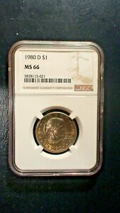 1980 D SUSAN B ANTHONY NGC MS66 GEM UNCIRCULATED $1 COIN BUY IT NOW