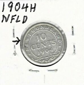NEWFOUNDLAND 1904H STERLING SILVER TEN CENTS  1