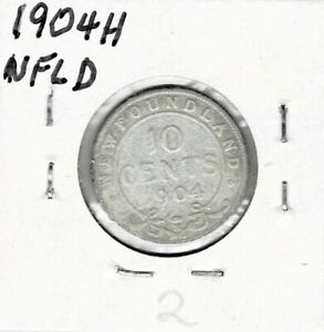 NEWFOUNDLAND 1904H STERLING SILVER TEN CENTS  2