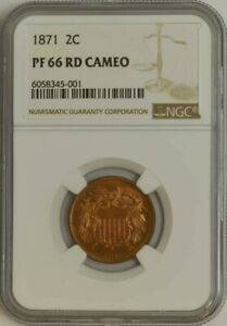 Click now to see the BUY IT NOW Price! 1871 TWO CENT 2C PF66 PR66 RD CAMEO NGC 944603 10