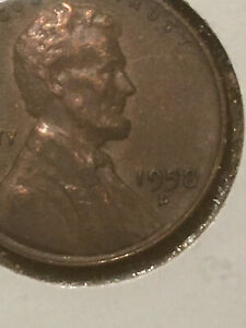 1958 D   US LINCOLN WHEAT  PENNY COIN COLLECTIBLE ERROR COIN DOUBLE DIE OBV