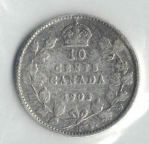 CANADA COINS   10 CENT 1903     SILVER .925    874
