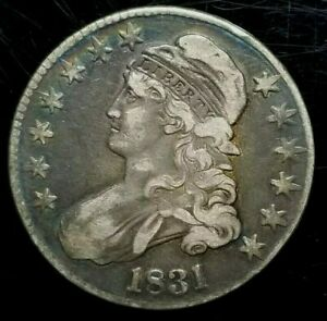 1831 CAPPED BUST SILVER HALF DOLLAR   NICE TONE   US COINS  SC42