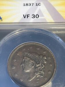 1837 CORONET HEAD LARGE CENT ANACS VF30 SMALL LETTERS BEADED CORDS ORIGINAL