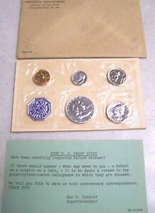 1958P UNITED STATES MINT UNCIRCULATED 5 COIN SET FRANKLIN HALF DOLLARS SILVER