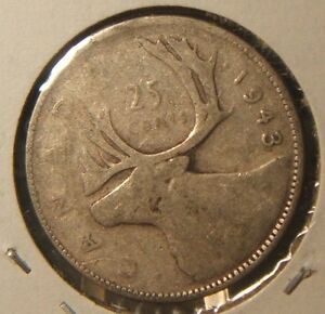 1943  CANADIAN 25 CENT PIECE  VF  SILVER