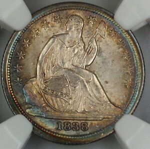 Click now to see the BUY IT NOW Price! 1838 SEATED LIBERTY DIME LARGE STARS NGC UNC DETAILS TONED CHOICE COINDGH