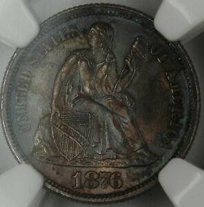 Click now to see the BUY IT NOW Price! 1876 CC SEATED LIBERTY DIME NGC MS 63 TONED  GEM BU COIN