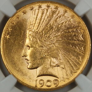1909 D INDIAN $10 EAGLE GOLD COIN NGC UNC DETAILS  IMPROPERLY CLEANED  BU