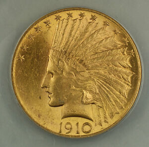 1910 $10 INDIAN GOLD EAGLE COIN ANACS MS 60 DETAILS CLEANED