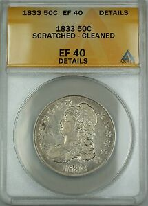 Click now to see the BUY IT NOW Price! 1833 O 115 BUST SILVER HALF DOLLAR COIN ANACS EF 40 DETAILS SCRATCHED CLEANED