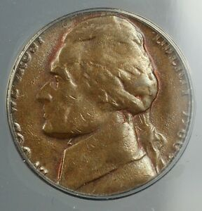 Click now to see the BUY IT NOW Price! 1980 P JEFFERSON NICKEL 5C COIN STRUCK ON PENNY CENT 1C BLANK ANACS AU 58