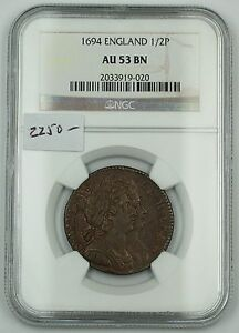 Click now to see the BUY IT NOW Price! 1694 ENGLAND HALF PENNY 1/2P COPPER COIN NGC AU 53 BN ALMOST UNCIRCULATED AKR