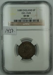 Click now to see the BUY IT NOW Price! 1688 ENGLAND SIXPENCE 6P SILVER COIN ESC 1528 NGC XF 40 AKR