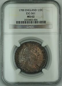 Click now to see the BUY IT NOW Price! 1700 ENGLAND 1/2C HALF CROWN SILVER COIN ESC 561 WILLIAM III NGC MS 62 AKR