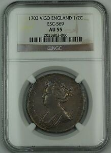 Click now to see the BUY IT NOW Price! 1703 VIGO ENGLAND 1/2C HALF CROWN SILVER COIN ESC 569 ANNE NGC AU 55 AKR