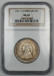Click now to see the BUY IT NOW Price! 1921 MISSOURI HALF DOLLAR COMMEMORATIVE 2 4 NGC MS 65 GEM COIN LIGHTLY TONED